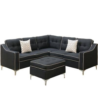 Palermo Black Fabric 4-Seater L-Shaped Sectional Sofa with Ottoman