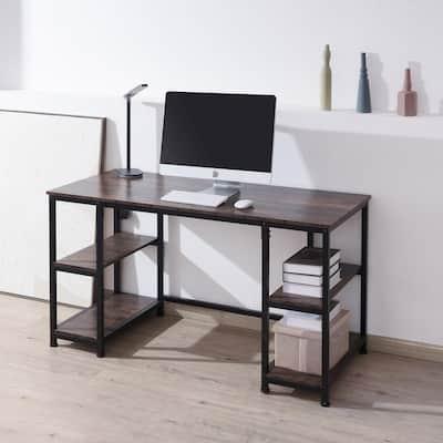 55 in. Retangular Walnut Wood Computer Desk with Removable Shelves