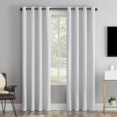 "Tyrell 50""W x 96""L Dove White Tonal Texture Draft Shield Fleece Insulated 100% Blackout Grommet Curtain Panel"