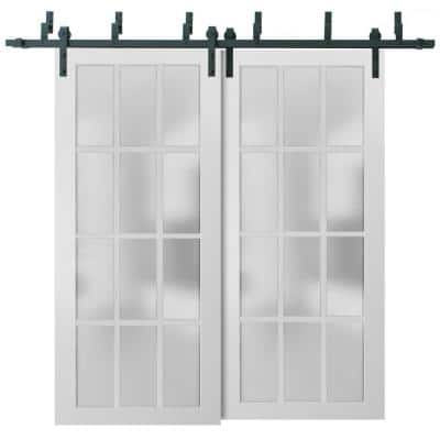 3312 48 in. x 80 in. 3/4 Lite Frosted Glass Matte White Finished Solid Wood Sliding Barn Door with Hardware Kit