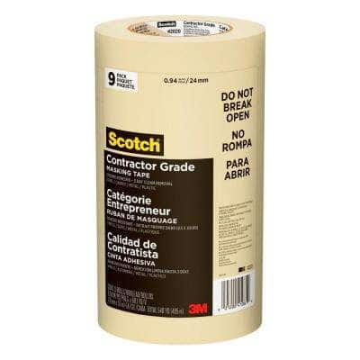 Scotch 0.94 in. x 60.1 yds. Contractor Grade Masking Tape (9-Pack)