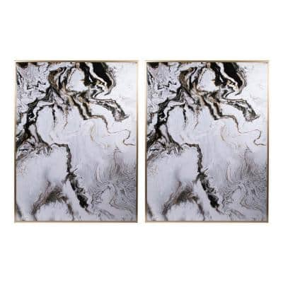Marbled Multicolored Framed Panel Wall Art (Set of 2)