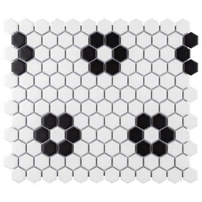 Take Home Tile Sample - Metro Hex Matte White with Flower 6 in. x 6 in. Porcelain Mosaic Tile