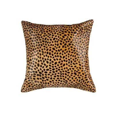 Torino Togo Cowhide Cheetah Print 18 in. x 18 in. Throw Pillow
