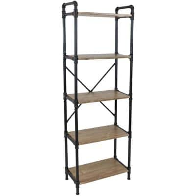 71 in. Brown MDF 5-Shelf Standard Bookcase with Black Pipe