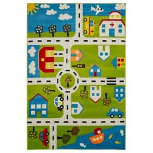 Whimsical Green/Cream 5 ft. x 7 ft. Indoor Area Rug