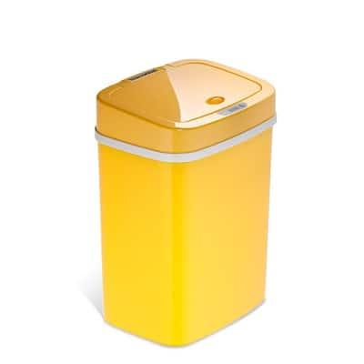 3 Gal. Motion Sensor Yellow Rectangular Shape Plastic Trash Can