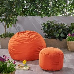 Rosalie Bay Coral Indoor Bean Bag and Ottoman Pouf