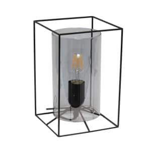 9 in. Black Framed Table Lamp with Smoked Cylinder Glass Shade