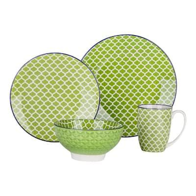 4-Piece Modern Macaron Green Porcelain Dinnerware Sets (Service for Set for 1)