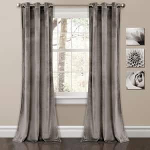 Gray Velvet Grommet Room Darkening Curtain - 38 in. W x 84 in. L (Set of 2)