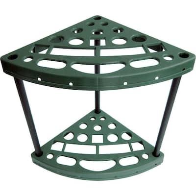 15.75 in. W x 21.89 in. H x 23.55 in. D 18-Tier Plastic Yard Tool Corner Storage Rack in Green