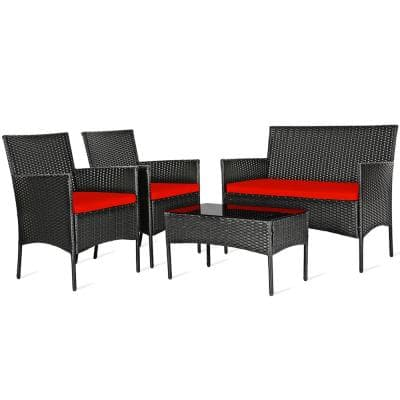 4-piece Patio Rattan Conversation Set Outdoor Furniture Set with Red Cushion