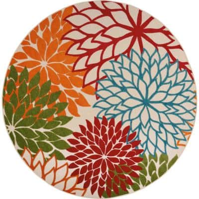 Aloha Green 8 ft. x 8 ft. Floral Modern Indoor/Outdoor Round Area Rug
