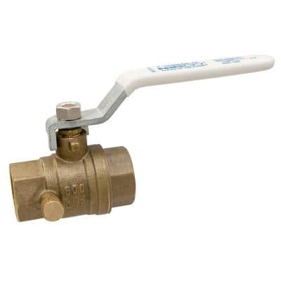 1/2 in. Brass Lead-Free Threaded Two-Piece Full Port Ball Valve with Drain