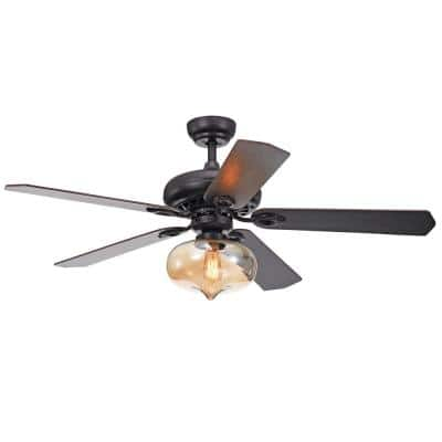 Figuera 52 in. Indoor Matte Black Remote Controlled Ceiling Fan with Light Kit
