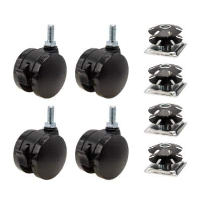 2 in. Black Furniture Swivel with Brake Caster with 440 lbs. Load Rating (4-Pack)