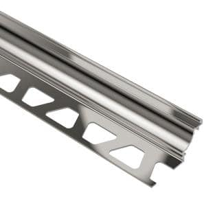 Dilex-AHK Polished Nickel Anodized Aluminum 3/8 in. x 8 ft. 2-1/2 in. Metal Cove-Shaped Tile Edging Trim