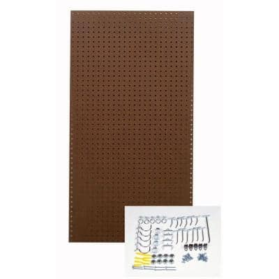 24 in. x 48 in. Heavy Duty Brown Pegboard Wall Organizer Kit with 36 Hooks
