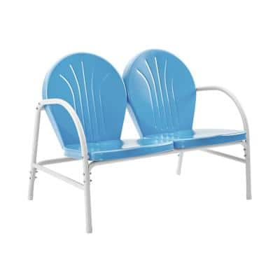 Griffith Blue Metal Outdoor Loveseat