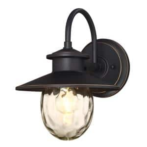 Delmont Oil Rubbed Bronze 1-Light with Highlights Outdoor Wall Lantern Sconce