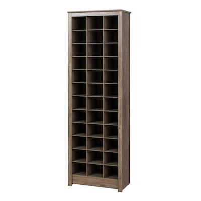 Drifted Gray Space-Saving 36-Pair Shoe Organizer Storage Cabinet