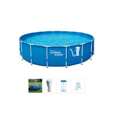 14 ft. Round 36 in. Deep Metal Frame Pool Set with Filter Pump