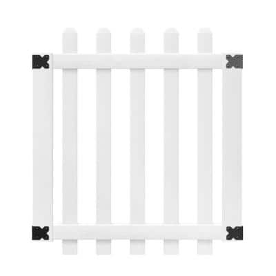 3-1/2 ft. W x 4 ft. H White Vinyl Glendale Spaced Picket Fence Gate with 3 in. Dog Ear Fence Pickets