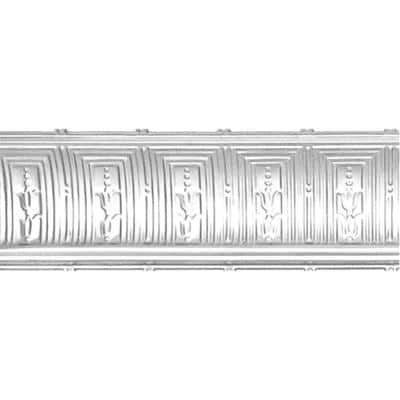 8-3/4 in. x 4 ft. x 8-3/4 in. Brite Chrome Nail-up/Direct Application Tin Ceiling Cornice (6-Pack)