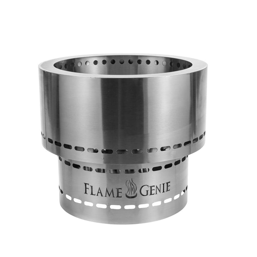 Hy C Flame Genie Inferno Pellet 19 In X 16 5 In Stainless Steel Wood Burning Fire Pit Fg 19 Ss The Home Depot