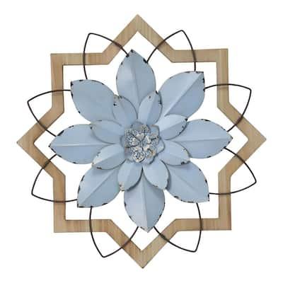Metal Blue Flower and Wood Frame