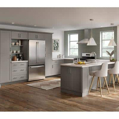Cambridge Shaker Assembled 24 in. x 84 in. x 24 in. Pantry Cabinet with Adjustable Shelves in Gray