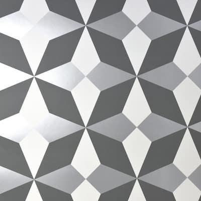 Newby Silver Geometric Silver Wallpaper Sample