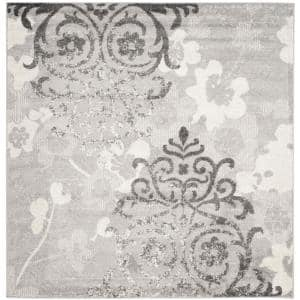 Adirondack Silver/Ivory 6 ft. x 6 ft. Square Floral Area Rug