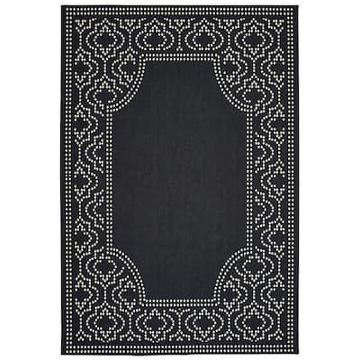 Sienna Black/Ivory 5 ft. x 8 ft. Border Indoor/Outdoor Area Rug