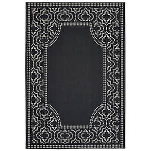 Sienna Black/Ivory 8 ft. x 11 ft. Border Indoor/Outdoor Area Rug