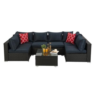Dark Coffee 7-Piece PE Rattan Wicker Sectional Sofa Sets with Dark Blue Cushion