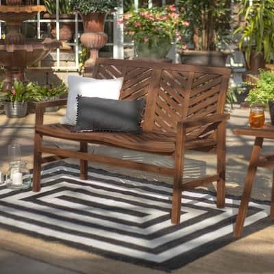 Dark Brown Acacia Wood Outdoor Loveseat with Chevron Design