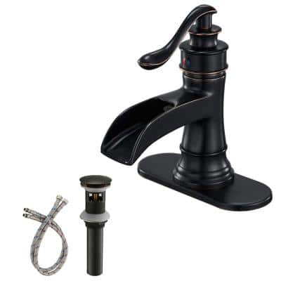 Single Hole Single Handle Sleek Stylish Bathroom Faucet with Drain Kit Included in Oil Rubbed Bronze (Valve Included)