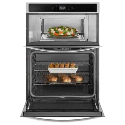 27 in. Electric Smart Wall Oven with Built-In Microwave with Touchscreen in Stainless Steel
