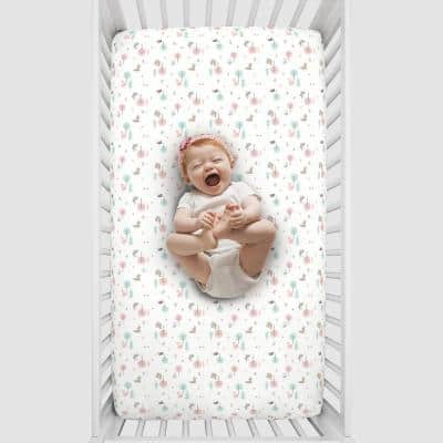 Girl Woodland Pink, Aqua, Grey and White Polyester Soft Fitted Crib Sheet