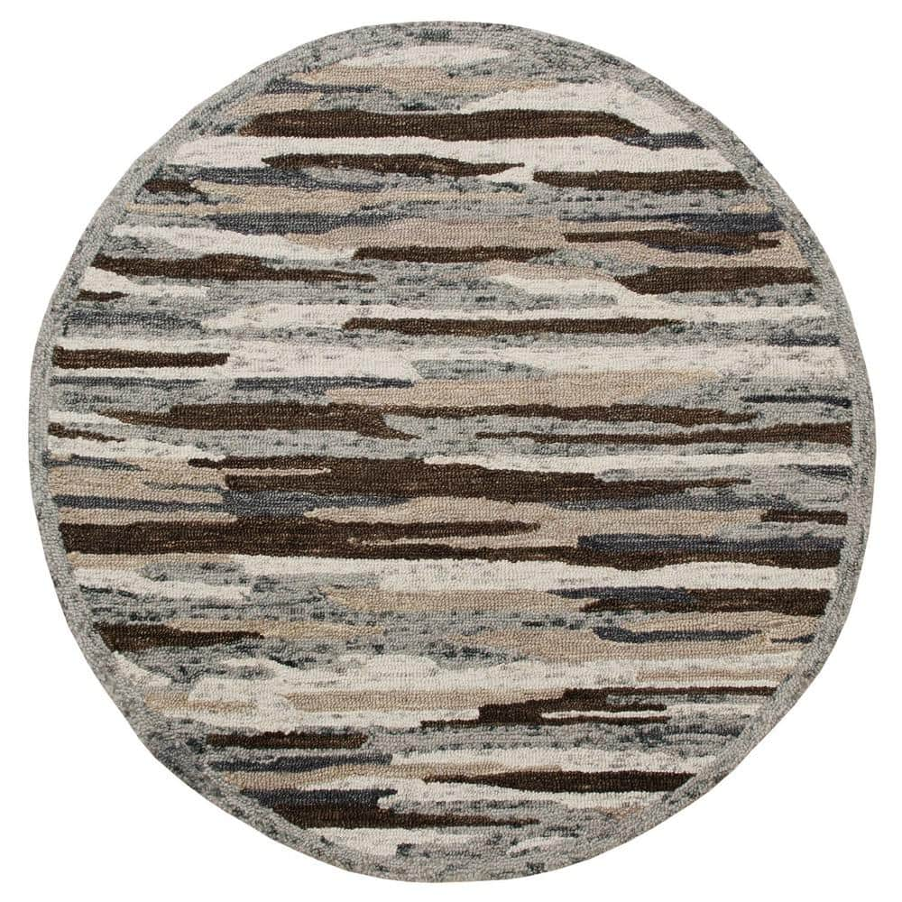 Lr Home Sinuous Gray Brown 6 Ft Round Distressed Cabin Camouflage Wool Area Rug Sinuo54121nmt60rd The Home Depot