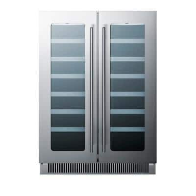 24 in. Built-in French Door Dual Zone 21-Bottle Wine and 60-Can Beverage Cooler