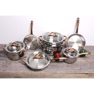 Ouro 11-Piece Hard-Anodized Aluminum Nonstick Cookware Set in Silver and Rose Gold