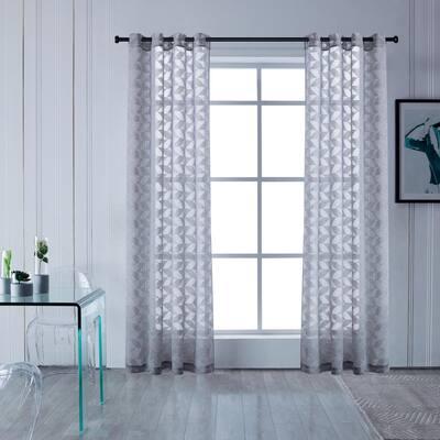 Blake 108 in.L x 54 in. W Sheer Polyester Curtain in Grey