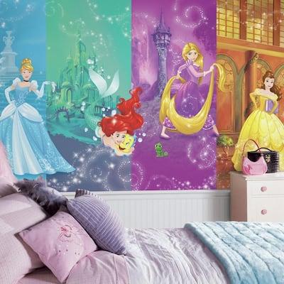 72 in. W x 126 in. H Disney Princess Scenes XL Chair Rail 7-Panel Prepasted Wall Mural