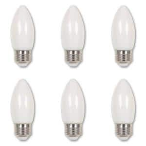 40-Watt Equivalent B11 Dimmable Edison Filament LED Light Bulb Soft White Light (6-Pack)