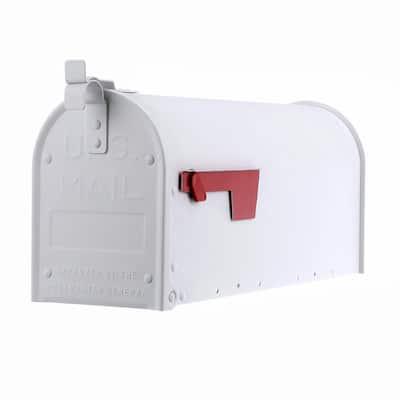 Admiral Medium, Aluminum, Post-Mount Mailbox, Textured White