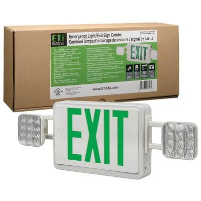 60-Watt Equivalent Integrated LED White with Green Letters Emergency Light Exit Sign Combo Battery Backup 6500K
