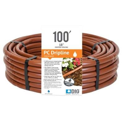 Earthline Brown PC 100 ft. 1-GPH Pressure Compensating Drip Line with 18 in. Spacing
